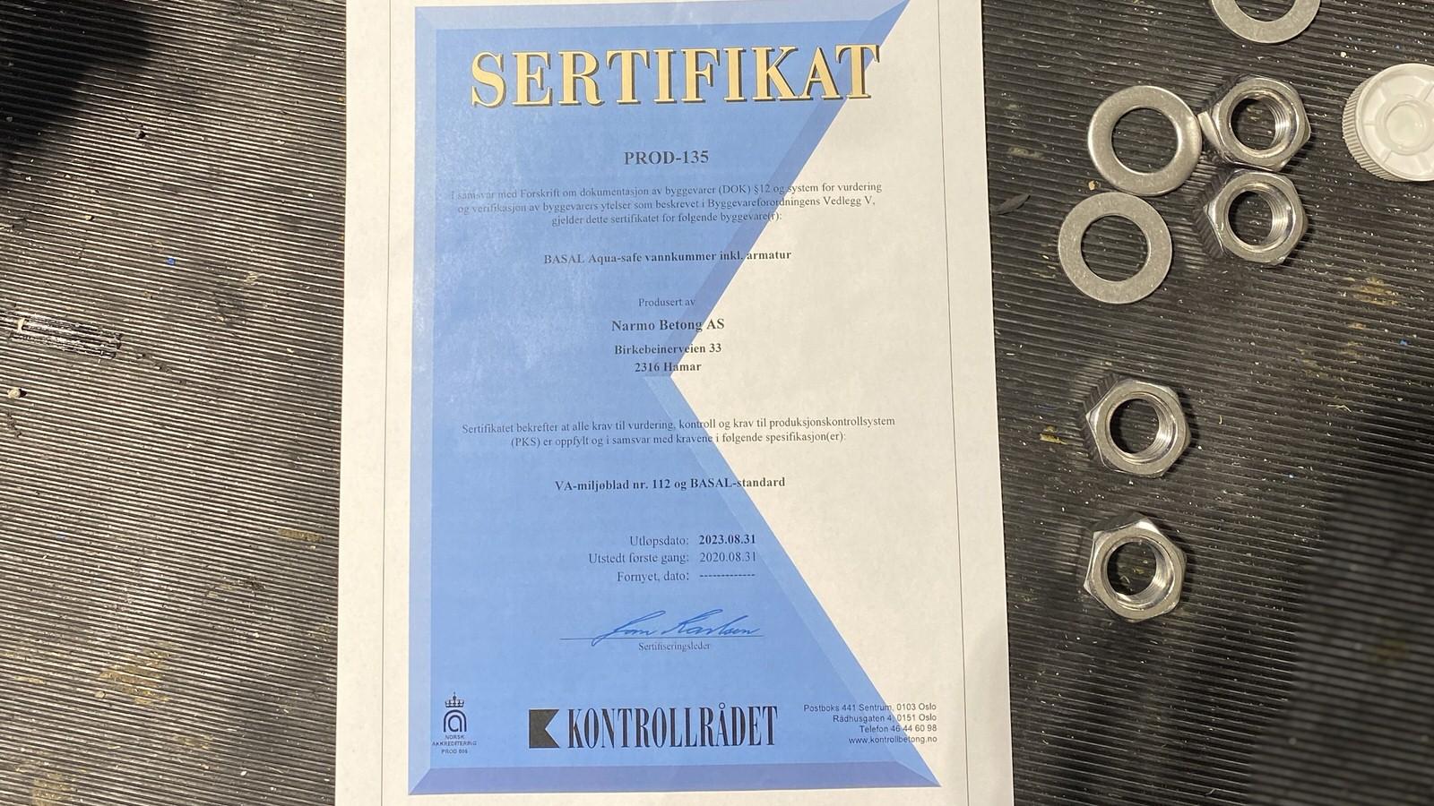 Ny Aqua-Safe sertifisering på vår avdeling i Hamar